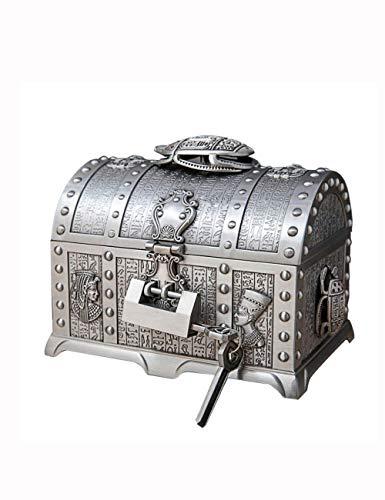 Damen Schmuckschatulle, große Metall kreative mehrschichtige ägyptische Retro-Schmuck Aufbewahrungsbox mit Schloss Schmuckschatulle, Ring Ohrringe Halskette Armband Aufbewahrungsbox