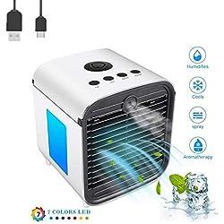 Air Portable Cooler Climatiseur Rafraichisseur d'air et Ventilateur Mini Refroidisseur D'air Evaporatif avec Humidificateur et Purificateur pour Maison/Bureau/Camping (Blanc)