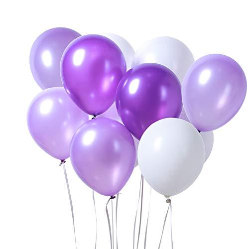 PuTwo Luftballons 12 Zoll 100 Stück Luftballons Weiß & Lila Luftballons für Party Luftballons Lila Weiß Helium Luftballons Lila Ballons Latex Luftballon für Taufe, Geburtstag, Baby Shower - Lila, Weiß