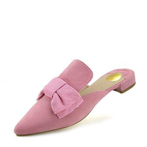Kick Footwear - Donna Giallo Velluto Punto di Slipper Scarpe Casual Muli a Punta Piatta Pantofole Pink