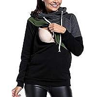 BESBOMIG Ropa Lactancia Mujeres Camiseta de Lactancia Encapuchado Premamá Camisa - Doble Capa Maternidad Ropa de