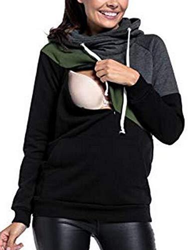 BESBOMIG Donna A Allattamento Maglietta con Cappuccio maternità Camicia Tops Manica Lunga Doppio Strato Design Maternity Wear