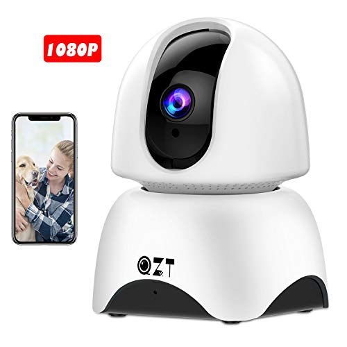 Telecamera IP 1080P ,Wireless QZT FHD Wifi Telecamera di sicurezza con Cattura Panoramica, Rilevazione di movimento, Visione Notturna, Audio Bidirezionale, Inclinazione Verticale P2P, Telecamera di Sorveglianza Domestica per Bambino / Anziani / Animali Domestici