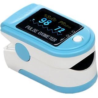 AVAX AV-50D - Fingerpulsoximeter (Finger Pulse Oximeter) - %SpO2 (Sauerstoffsättigung des Blutes) & Herzfrequenzmesser mit LED-Anzeige und Zubehör - HELLBLAU