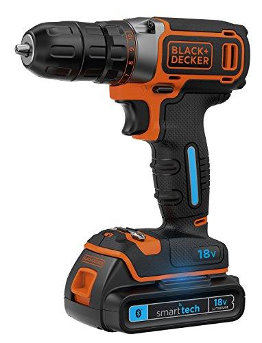 BLACK+DECKER BDCDC18KST-QW Trapano/Avvitatore 18 V Litio, 1.5 Ah Smart Tech, Arancione/Nero