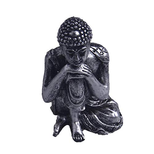 Buddha Meditieren (Rvest Schlafende Buddha Statue Tiny Harz Buddha Statue Silber Bronze Meditieren Buddha Statue Figur Sitzen Buddha Wohnkultur Indoor 9 cm)