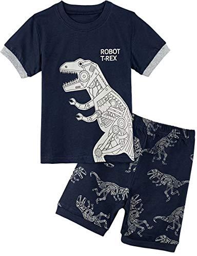 MOMBEBE COSLAND Jungen Schlafanzug Roboter-Dinosaurier Zweiteiliger Kurzarm Pyjama (2 Jahre/98, T-Rex) -