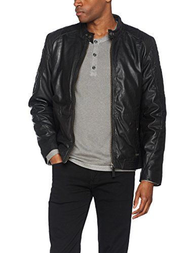 Mustang Leather Herren Jacke Jamieson, Schwarz (Black 1000), X-Large