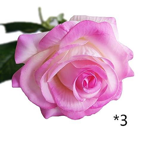 Tsacte 3pcs Simulation Rose Rose hydratant Rose toucher réaliste roses Décoration Faux Fleur Simulation Fleurs en soie Chiffon Rose