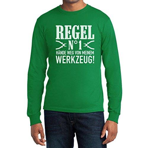 Männer Geschenk - Regel Nummer 1 Hände Weg von meinem Werkzeug! Langarm T-Shirt Grün