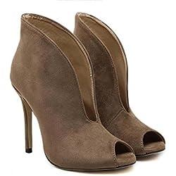 Pump Coole Stiefel 11cm Scarpin Peep Toe V Stil High Heel Kleid Schuhe Court Schuhe Frauen charmante Seude Hollow Boots Freizeitschuhe Eu Größe 35-40 ( Color : Brown , Size : 39 )