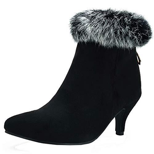 AIYOUMEI Damen Wildleder Kitten Heel Stiefeletten mit Fell und 6cm Absatz Kleiner Absatz Stiefel Schuhe