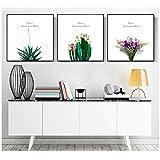 A&D Die Nordischen gemalt auf Leinwand dekorative Malerei kleine frische Topfpflanzen Bilder Druck auf Leinwand -50x50cm No Frame