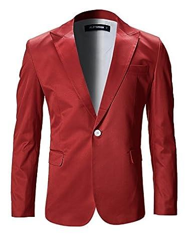 FLATSEVEN Mens Slim Fit Stylish Peaked Lapel Blazer Jacket (BJ200)