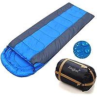 Saco de dormir Angker, cómodo con bolsa de compresión, sobre ligero, portátil, impermeable, ideal para 4 estaciones, viajes, camping, senderismo, ...