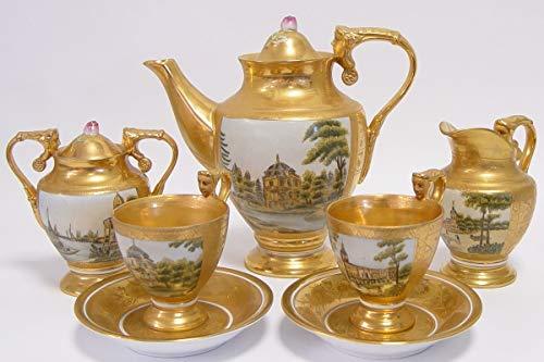 Casa Padrino Barock Kaffeeservice Gold/Mehrfarbig H. 19,5 cm - Edles Porzellan Geschirr