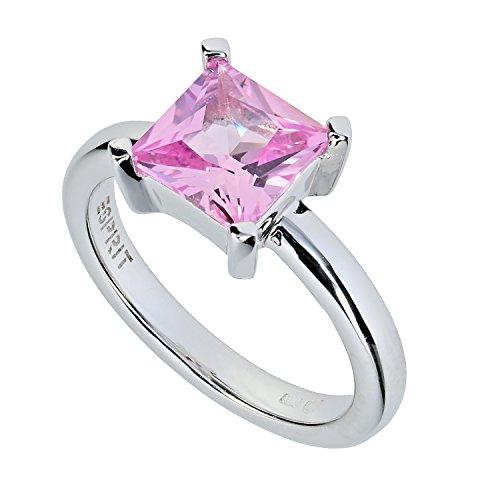 Esprit DamenRing 925/ooo SterlingSilber SQUARE LIGHT ROSE (Rose Gold Rosa Saphir Ring)