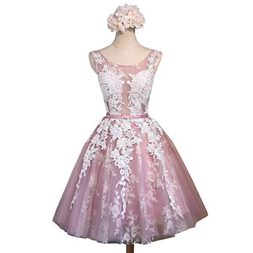 BINGQZ Damen/Elegant Kleid/Cocktailkleider Kurze Spitze-Blumen-Bankett-Kurzschluss-Abend-Kleid die Braut nehmen transparente A-line-Partei-Kleid-Formale Kleider ab -