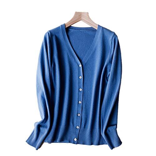 LXIANGP Damen Strick Cashmere Cardigan Volltonfarbe lose äußere Kurze Pullover Jacke Damen Frühling und Herbst dünne Multicolor-Auswahl  (S-XXL) -