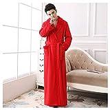 OMFGOD Uomini Inverno Accappatoio Grande Spessa Lungo Flannel Pigiama Moda Comodo Leisure Notte Vestaglia Rosso,Foto,L