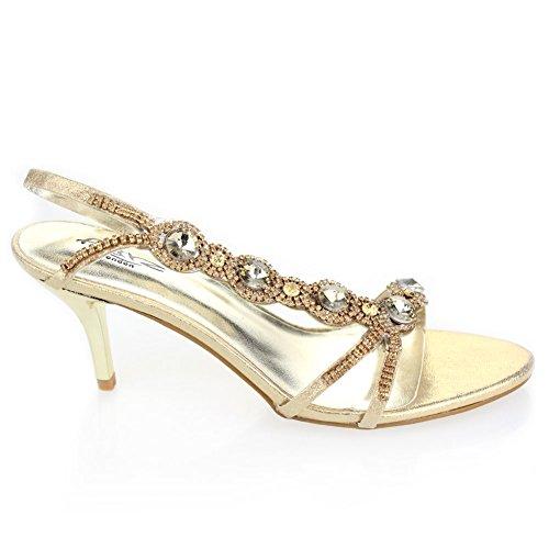 Aarz femmes Ladies Wedding Party Soirée Prom moyen talon Diamante Sandal Bridal Chaussures Taille (Or, Argent, Noir, Rouge, Bleu) Or