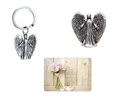 Geschenkset Engel Michael, Schlüsselanhänger m. Engel und Grußkarte