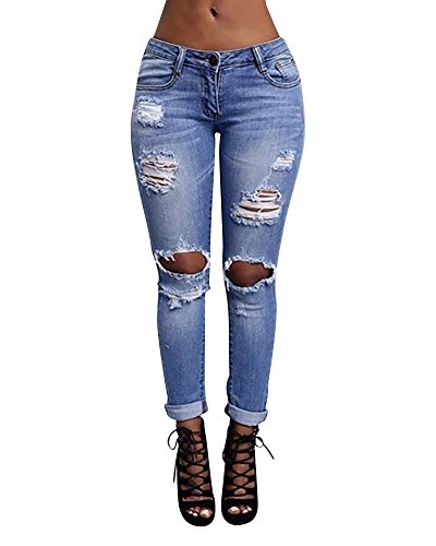 Donna Pantaloni a Vita Alta Legging Denim Jeans Skinny Pantaloni Distressed Blu