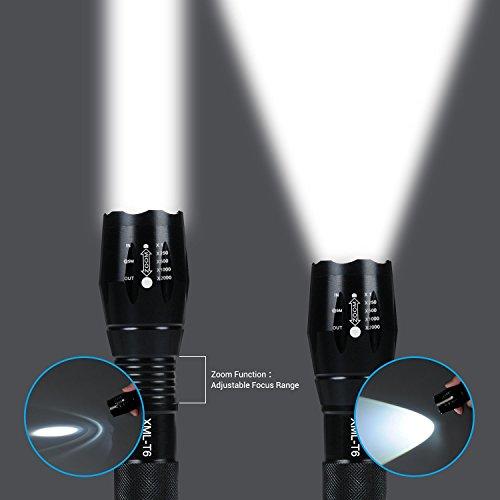 Lampe Torche - iLOME Lampe de Poche LED Ultra Puissante 900LM Etanche Zoomable avec 5 Modes Intensité Ajustable