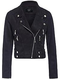 SS7 Womens Faux Suede Biker Jacket Ladies Size 8 10 12 14 Black Grey New