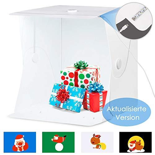 amzdeal Lichtzelt Fotostudio 40×40cm Leuchtkasten Tragbare Faltbare Studiobox mit Halterung zu festen und 30 LED Beleuchtung, Fotozelt Tragbare Lichtwürfel mit 4 Hintergründe (weiß/schwarz/blau/grün)