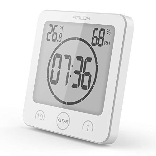 Soddyenergy LCD Digital Duschuhr, Badezimmeruhr, Wasserdicht, Timer, Temperatur, Luftfeuchtigkeit, Wanduhr, Küchenuhr weiß - Dusche Lcd Uhr