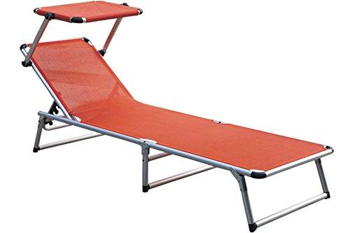 Unbekannt Alu Sonnenliege Relaxliege mit Sonnenschutz-Dach orange