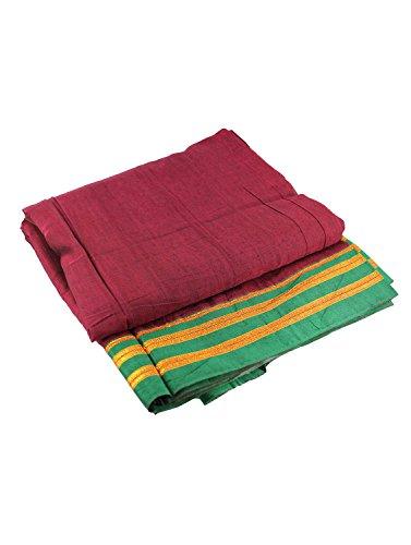Women's Cottage Solid Nauvari Belgaum Catlon Silk Saree Free Size Maroon Color...