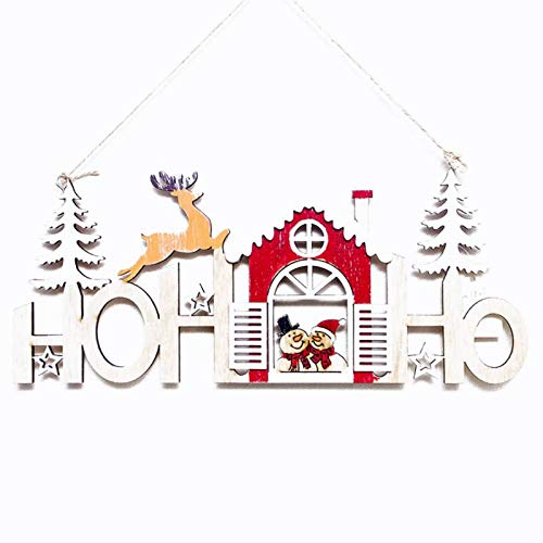 Pendant Drop Ornaments - Christmas Year Alphabet House Plate Hollow Decoration Door Hanging Pendant Ornaments Wooden Gift - Hoop Dream Tree Mat Foam Helium Drop Wall Magnet Wall Door Toy P
