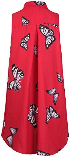Tunica in chiffon da donna a giromanica e con bordo irregolare, per taglie forti, con farfalla decorativa. Red