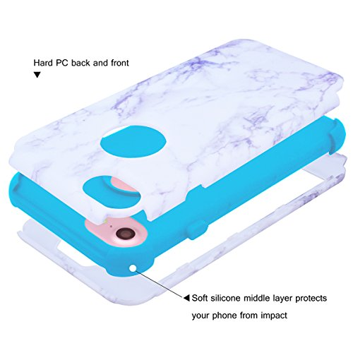 """WE LOVE CASE iPhone 7 / iPhone 8 Hülle Marmor 360-Grad All-inclusive Split Full Protection Anti-Drop iPhone 7 / iPhone 8 4,7"""" Hülle Rose Gold Schutzhülle Handyhülle Handytasche Handycover PC Harte und blue"""