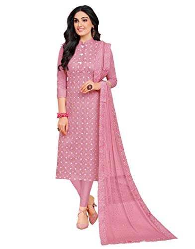 Rajnandini Women\'s Cotton Satin Embroidered Unstitched Dress Material(JOPLMF335_Mauve_Free Size)