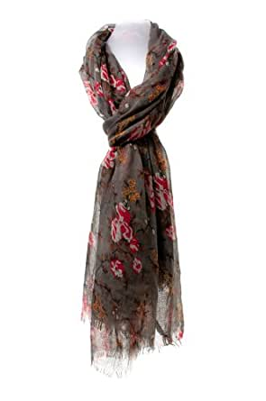 Marl Grey Vintage Floral Scarf / Wrap with Red and White Print