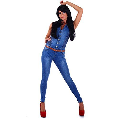 5450 Fashion4Young Damen Jeans-Overall Hosenanzug Einteiler Blau Übergrössen Gr. 36-44