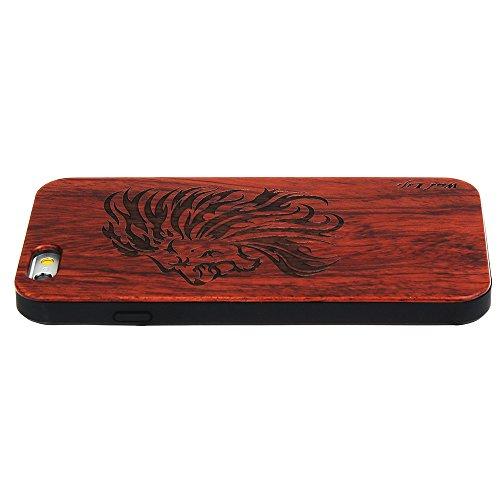 Forepin® Coque en Bois Naturel & Plastique pour iPhone 5S/ 5/ SE Anti Choc Case Santal Réel Etui Couvert et Housse Lion
