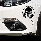 Stampa Adesivi Auto Adesivi per auto Cranio Fantasma Diavolo Cuffie Decalcomanie creative per finestrino Car Styling 18x12 cm per autoadesivo della finestra del computer portatile per auto