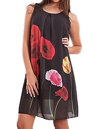 Toocool - Vestito donna miniabito abito corto velato fiori maxi maglia  nuovo CJ-2213 e94c4bb4532