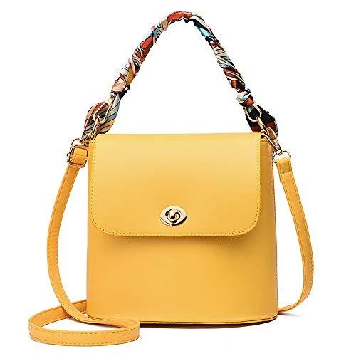 Design Satchel Handtasche (Qmm Frische und einfache Umhängetasche, Schal Handheld-Design Mädchen Umhängetaschen, Eimer PU-Material Satchel Handtasche mit großer Kapazität Handtasche for Frauen (Color : Yellow))