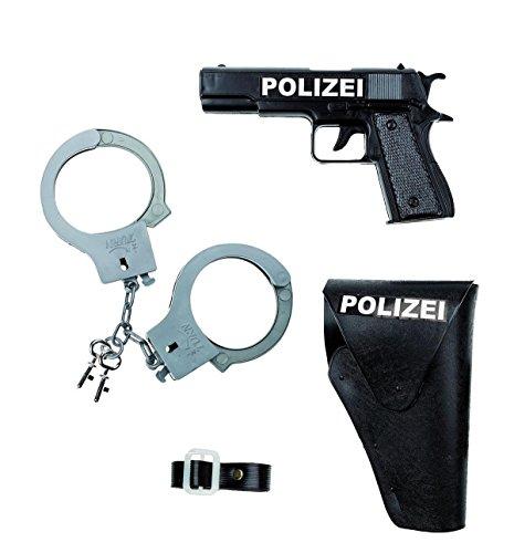 Kostüm Halfter - 3tlg. Polizeiset / bestehend aus Pistole, Handschellen und Halfter