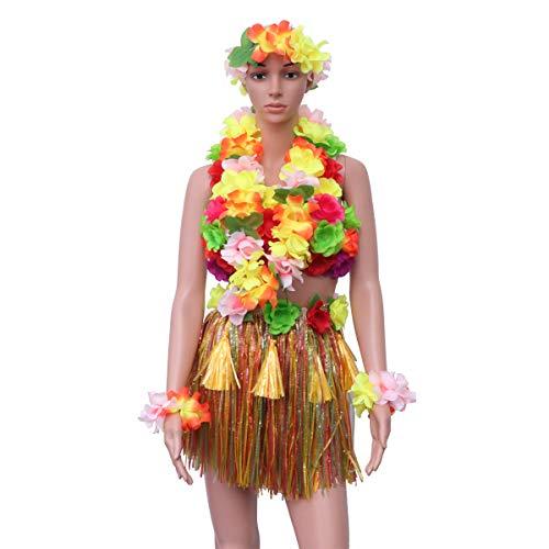 Amosfun 6 Stück Hawaiian Kostüm Set mit Hula Röcken Armbänder Stirnband BH Strand Luau Party Favors