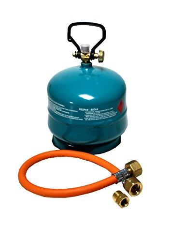 Gasflasche Propan Butan Gas 2 kg + Adapter + Umfüllschlauch Aktionsset leer befüllbar -