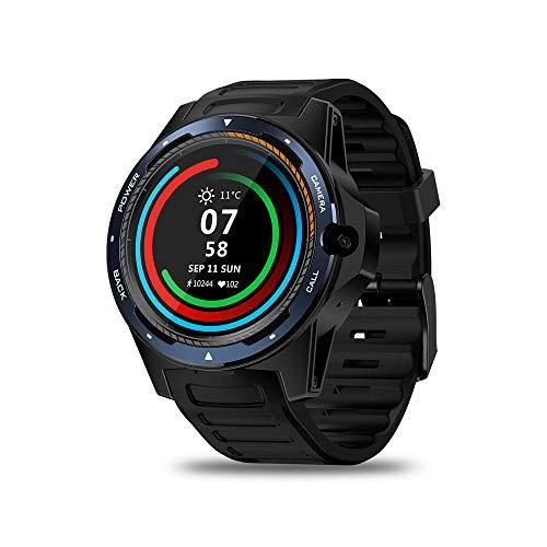 JS Pantalla Completa, Reloj Deportivo con Pantalla Redonda y cámara de 8MP, Sistema Dual GPS 1.39 \'\' 2GB + 16GB Monitor de Ritmo cardíaco Hombres Mujeres Smartwatch,Blue