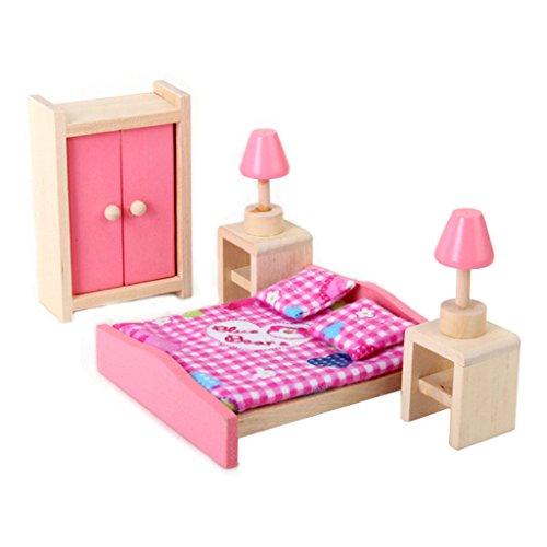 1/12 Dollhouse Mínimos Muebles De Dormitorio De Madera Cama...