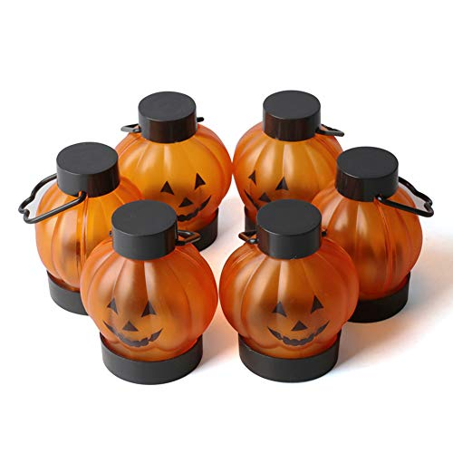 Fcyylight Halloween Kürbis Lichter Laternen, Batteriebetriebene Laterne Halloween Kürbis Lichter