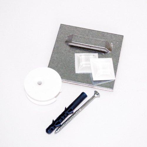 Klebeblech (1 Stk.) inkl. Ausgleichs-Excenter und Montageset, selbstklebend 7cm x 7cm | Spiegelaufhänger , Aufhängeblech , geeignet für Spiegel, Hartschaum-Platten und Alu-Verbundplatten